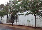 05/07/19 - Vista do muro de fechamento, gradil e paisagismo na Rua dos Catetos