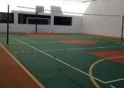 02/08/19 - Vista da quadra após pintura de piso e instalação de equipamentos