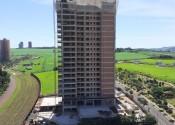16/12/19 - Vista da obra após a execução da estrutura de piso do 20° andar na projeção da torre.