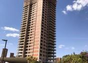 13/08/20 - Vista da torre durante a execução da estrutura dos pilares do 27° pavimento.
