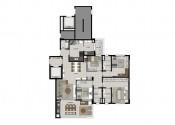 Planta Apartamento Tipo_com 04 dormitórios e 02 suítes